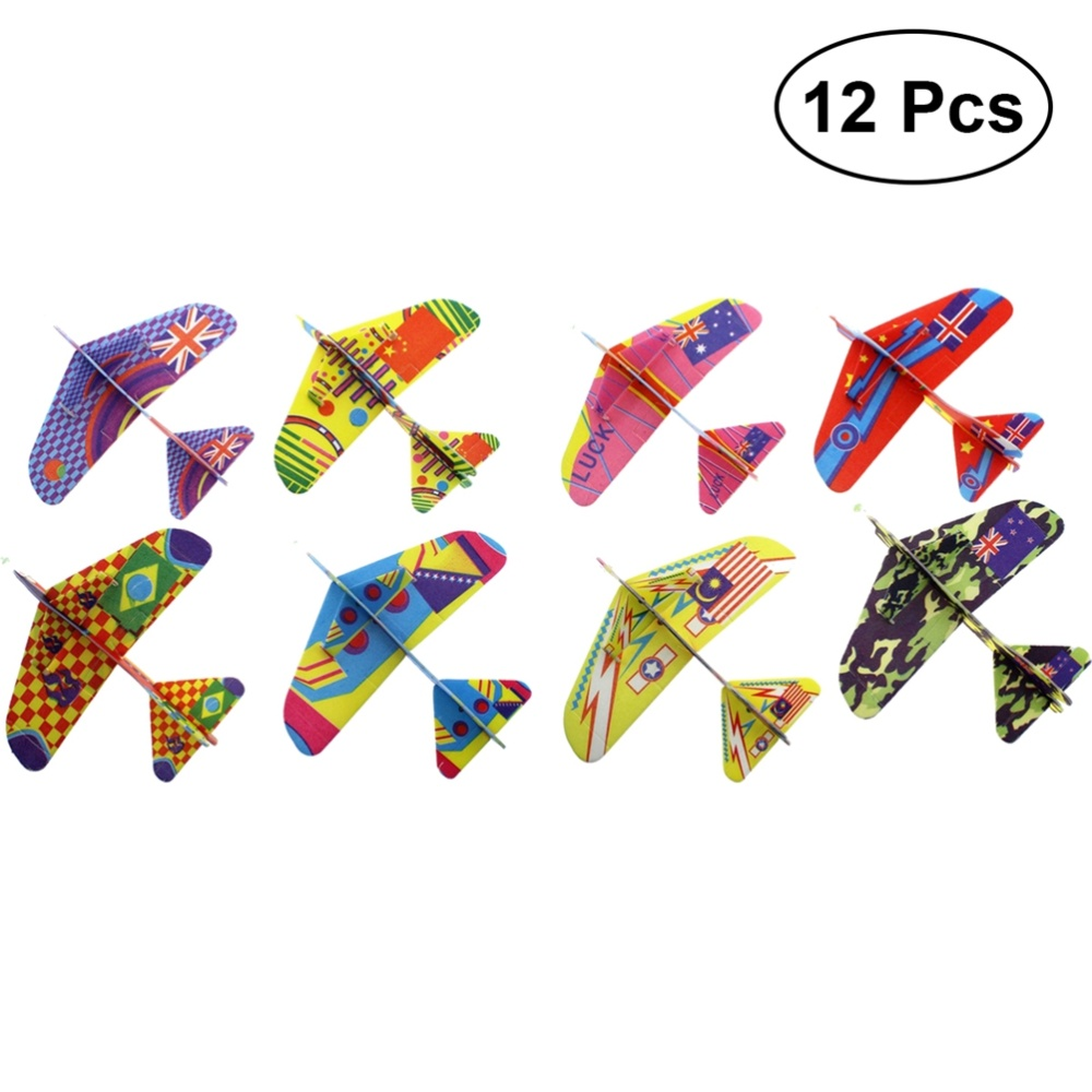 12pcs Assembly Flying Glider Plane Lightweight Foam Air Planes Fun Toys Party Favor for Kids (Random Pattern) image