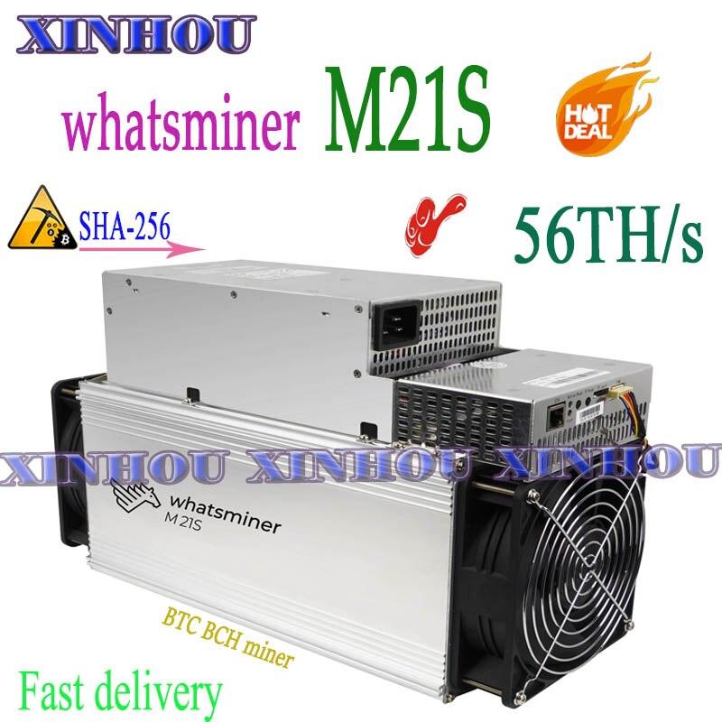 Nouveau mineur Asic what sminer M21S 56T avec PSU BTC BCH Bitcoin miner mieux que M20S M3 M3X antminer S9K S9j S9 S11 S17 S15 T17 T3