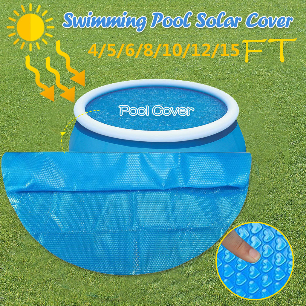4/5/6/8/10/12/15 ft Swimming Pool Cover Round Pool Cover Protector 4ft Foot Above Ground Blue Protection Swimming Pool image