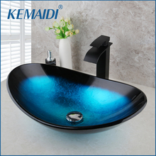 Смеситель KEMAIDI из закаленного стекла, кран для раковины в ванную комнату, ручная роспись, «Водопад», черный цвет, набор из латуни