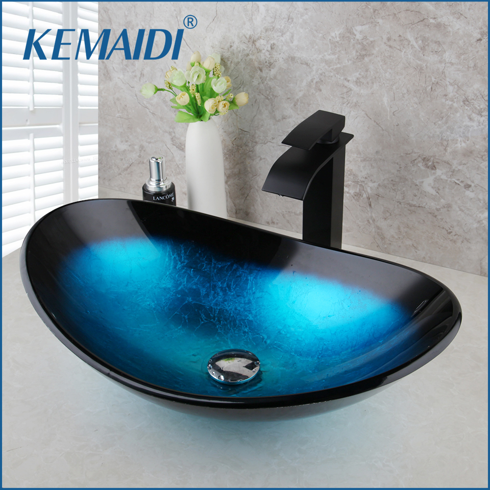 KEMAIDI Tempered Glass Hand Painted Waterfall Spout Basin Black Tap Bathroom Sink Washbasin Bath Brass Set Faucet  Mixer Taps