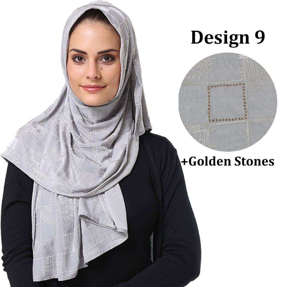 US $9.9 9% OFFDbs Desain 9 warna campuran desain terbaru Kustom muslim  wanita diamond jilbab jersey Belgia Belanda syalPakaian Islamic -