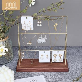 wood 3 tier bracelet watch stand holder jewelry showcase display storage necklace bangle organizer 3 Tier Jewelry Stand Pendant Earrings Organizer Storage Tray Showcase Display Jewelry Holder with Detachable Stand