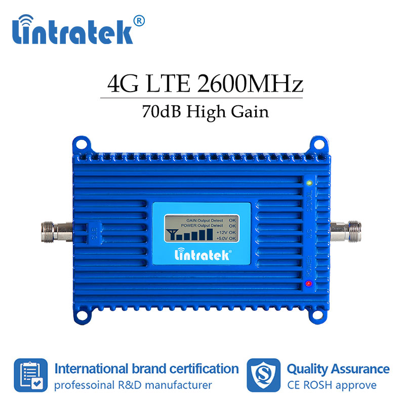 lintratek LTE 2600 MHZ signal amplifier improve cellular cell phone 4g signal network booster with LCD