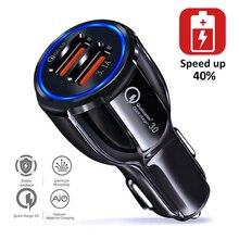 USB Auto Ladegerät 3,1 EINEN Schnellen Ladung 3,0 Schnelle Ladegerät Für iPhone Huawei P40 P30 P20 Mate 30 20 Lite honor Dual USB Handy-ladegerät