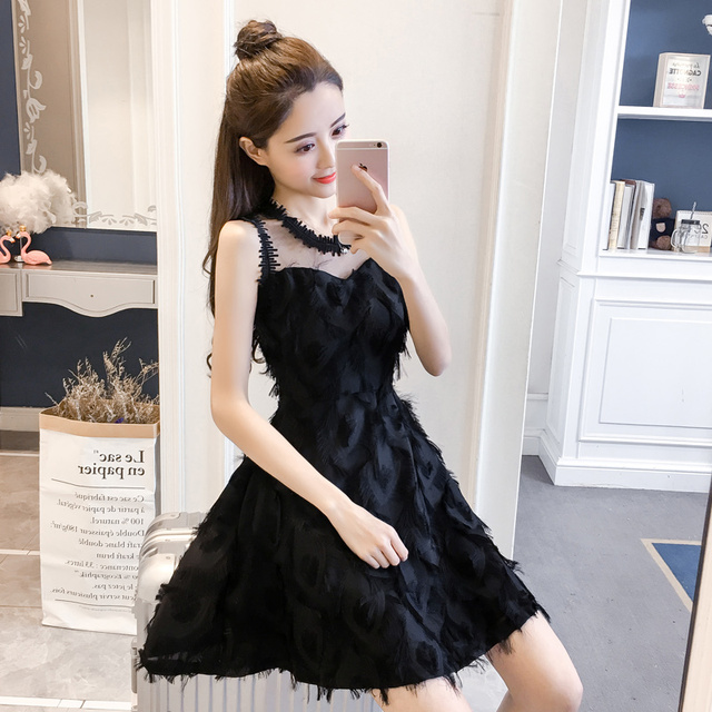 New Fashion Ladies Feather Tassel Embroidered Lace Vest Dress Fashion Sexy Temperament Girl Party Casual Beach Dress 1