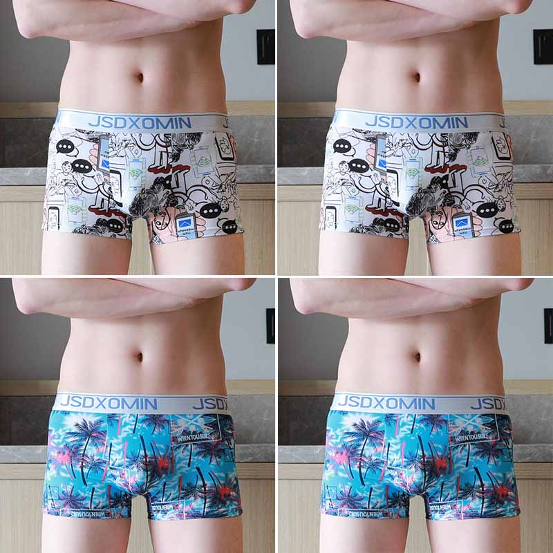 4 Pcs/lot New Men's Ice Silk Panties Mesh Jacquard Trousers Men Boxer Short U Convex Pouch Panties Man Boxeur Homme Underpants