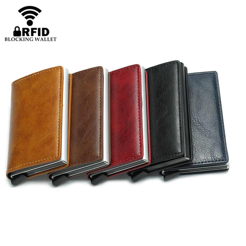 Мужской кошелек с защитой от кражи BISI GORO, винтажный кошелек унисекс из экокожи с алюминиевым отделением для кредитных карт с блокировкой RFID-сигнала