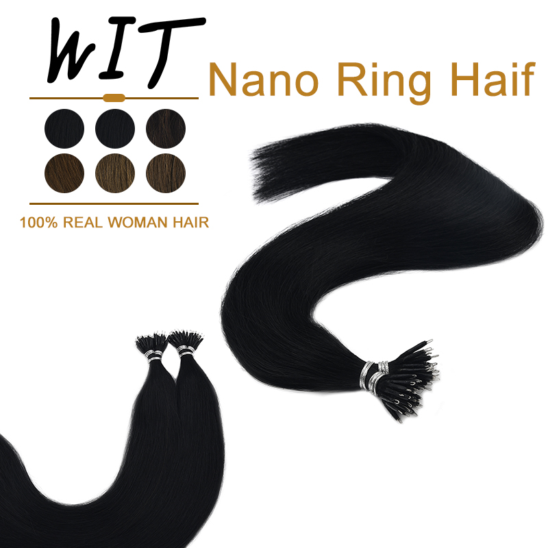 WIT Pre Bonded Hair Extensions Nano Ring Remy Human Hair Straight Hair On Capsule Real Hair Machine Made 1g/pc 16