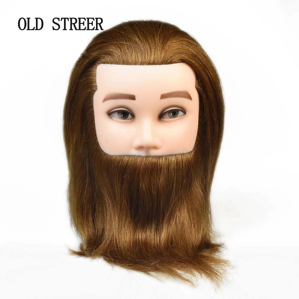8'' 100% Human Hair Training Head Salon Male Mannequin Head Hairdressing Practice Model Doll Head In Mannequins With Beard