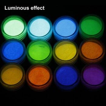 12 unid/set de relleno de polvo luminoso de limo, DIY Toys Crystal Mud Shining Glow Dark Powder, pigmentos de efecto fluorescente, polvo de fósforo