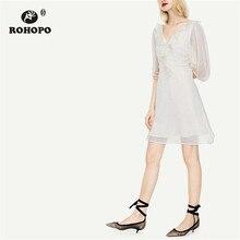 ROHOPO Double Layers Puff Half Sleeve Polk Dot Chiffon Dress Ruffled V Collar Backless Chic  Ladies Holiday Vestido #9481