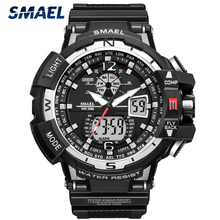 SMAEL Fashion Men's Watches Top Brand Luxury Silicone Waterproof Sports Quartz Watch Men Date Chronograph Military Male Clock
