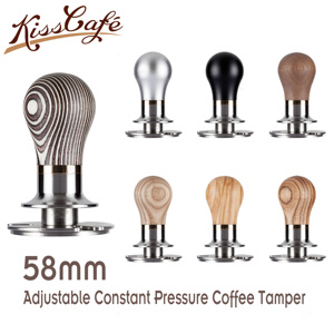 58mm Adjustable Constant Pressure Coffee Tamper Barista Stainless Steel/Wooden Handle Fixed Force Powder Hammer Coffee Tool(China)