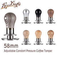 58mm Adjustable Constant Pressure Coffee Tamper Barista Stainless Steel/Wooden Handle Fixed Force Powder Hammer Coffee Tool