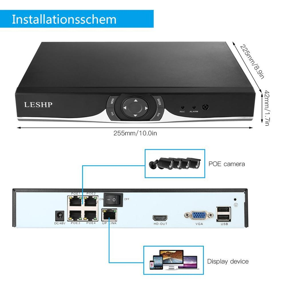 Купить с кэшбэком LESHP PoE Home Security Camera System H.265+ 4CH Full HD 1080P NVR 4X 1.3MP Outdoor PoE IP Cameras, Starlight Color Night Vision