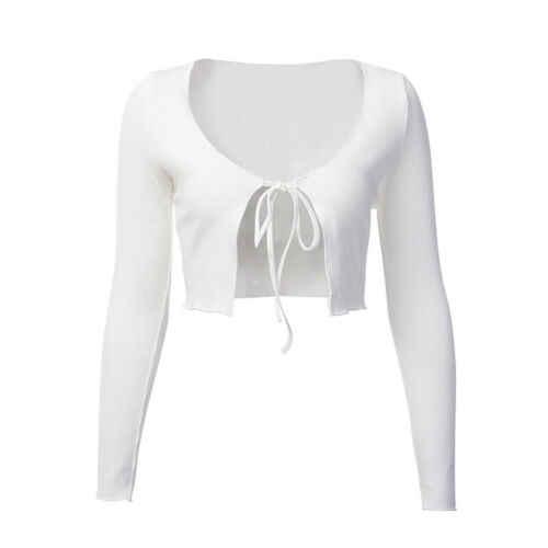 Mujer anudado Tie Front Bolero manga larga Crop Top Knit suéter Cardigan Sexy algodón suave calado ombligo top camiseta