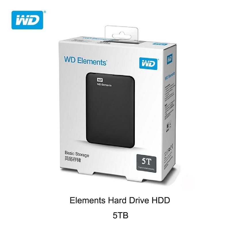 Western Digital Original WD Elements 5TB External Hard Drive 2 5inch USB 3 0 Portable External Hard Disk HDD