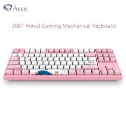 الأصلي AKKO 3087 لوحة مفاتيح الألعاب الميكانيكية 87 مفاتيح 85% PBT USB نوع-C السلكية الألعاب لوحة المفاتيح للاعبين جهاز كمبيوتر شخصي