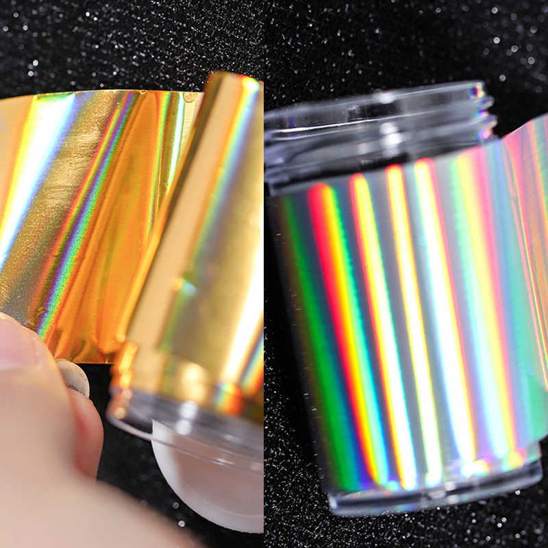 1 PC 4*100 ซม.Holographic Transfer ฟอยล์ Holo NAIL Foils Starry Sky Nail Art Transfer ฟอยล์สติกเกอร์