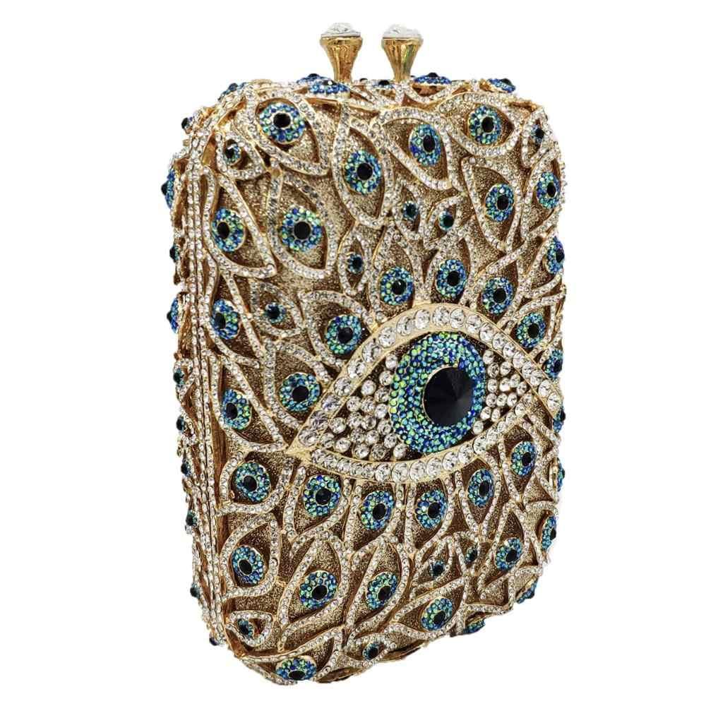 Бутик De FGG дьявол глаза для женщин алмаз коробка клатч вечерние кошельки и сумки невесты Свадебная вечеринка хрустальные сумки
