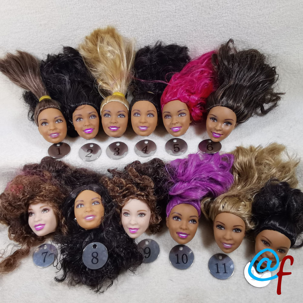 B29-2 Original Foreign Trade Africa Beauty 1/6 OOAK NUDE Rarely Doll Head Mussed Black Or Brown Hair For DIY Soft PVC Head