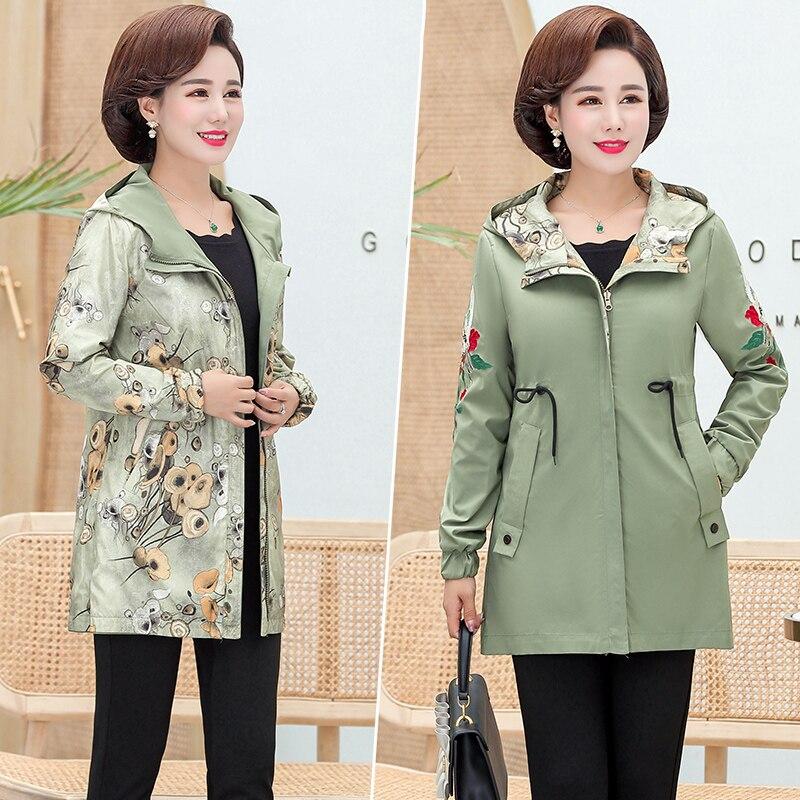 2020 Women Jacket Two Side Wear Female Jacket New Autumn Emboridery Coat Plus Size Hooded Windbreak Zipper Jacket Coats Pocket