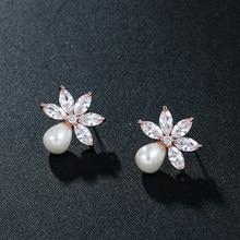 WEIMANJINGDIAN – boucles d'oreilles en cristal de zircone cubique plaqué or blanc et feuille de perles pour femmes ou bijoux de mariée