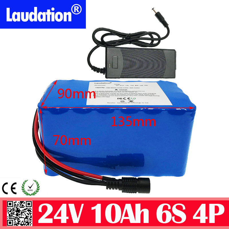 24v <font><b>battery</b></font> pack with 2a charger 15a bms 6s 4p 25.2V 18650 <font><b>10</b></font> <font><b>Ah</b></font> Lithium <font><b>Battery</b></font> Pack for motor wheelchair 250W electric bicycle image