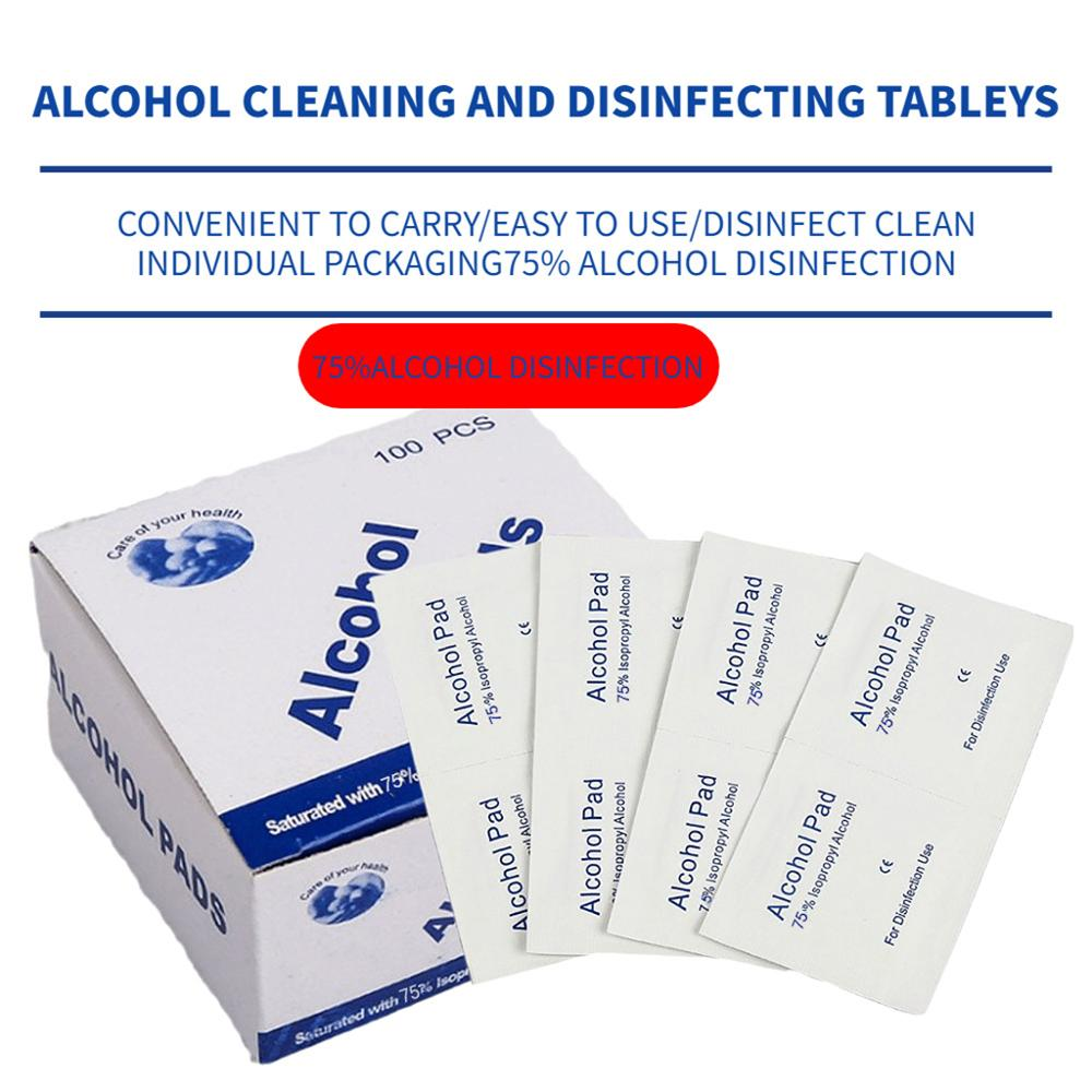 Portable 100PCS Professional Alcohol Swabs Pads Wet Wipes 70% Isopropyl First Aid Home Skin Cleanser Sterilization