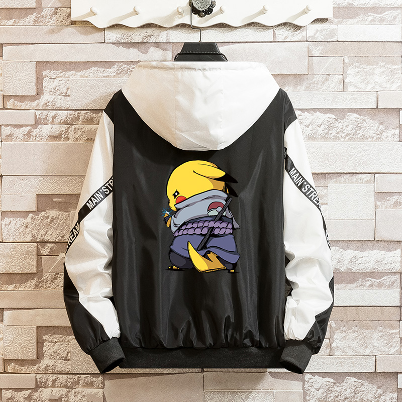 LES KOMAN Pokemon Printing Naruto Spring Autumn New Men Jacket  Casul Streetwear Hooded Splice  Coats Outwear S-5XL