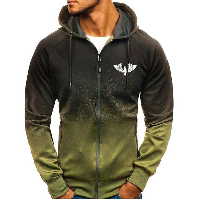 Jacket Casual Gradient color Hooded Sweat shirts zipper Hoodies Man Clothing 2