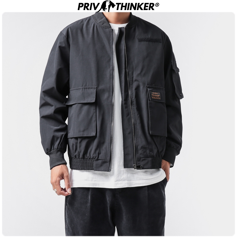 Privathinker Men Black Spring Solid Korean Hip Hop Jackets 2020 Mens Stand Collar Jacket Male Pockets Streetwear Coat Clothing