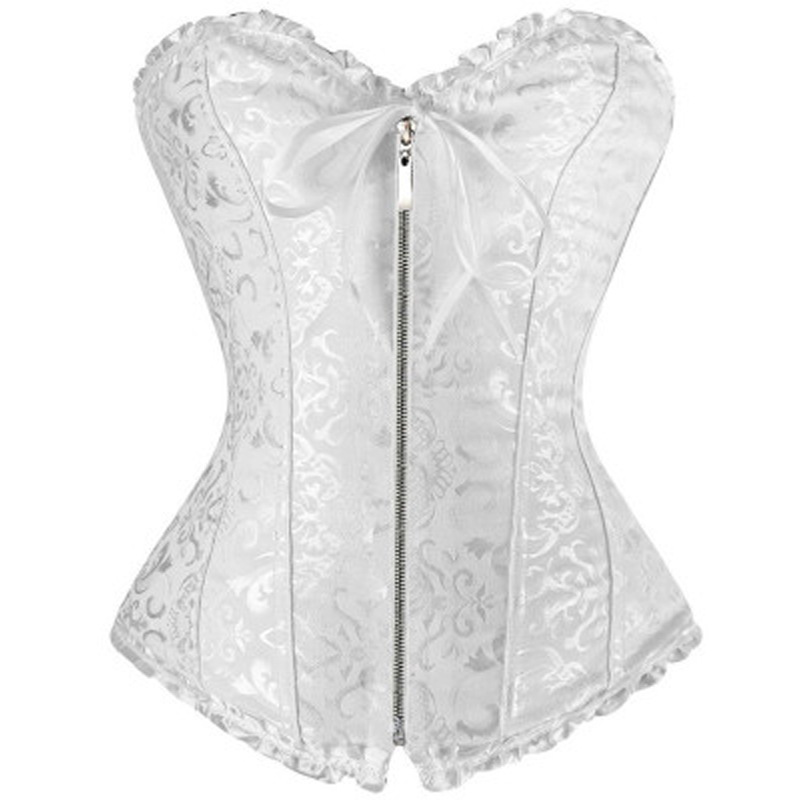 Dropshipping Sexy Lace Overbust   Corset   Plus Size Erotic Zip Floral Women   Bustier     Corset   Lingerie Tops Brocade Victorian corsage