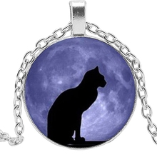 Fashion New Handmade Necklace Cartoon Surrounding Black Cat Flower Glass Pendant Personalized Gift Charm