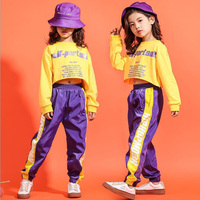 Kid Cropped Sweatshirt Shirt Jogger Pants Hip Hop Clothing Outfits Jazz Dance Costume for Girls Boys Ballroom Party Dancing Suit