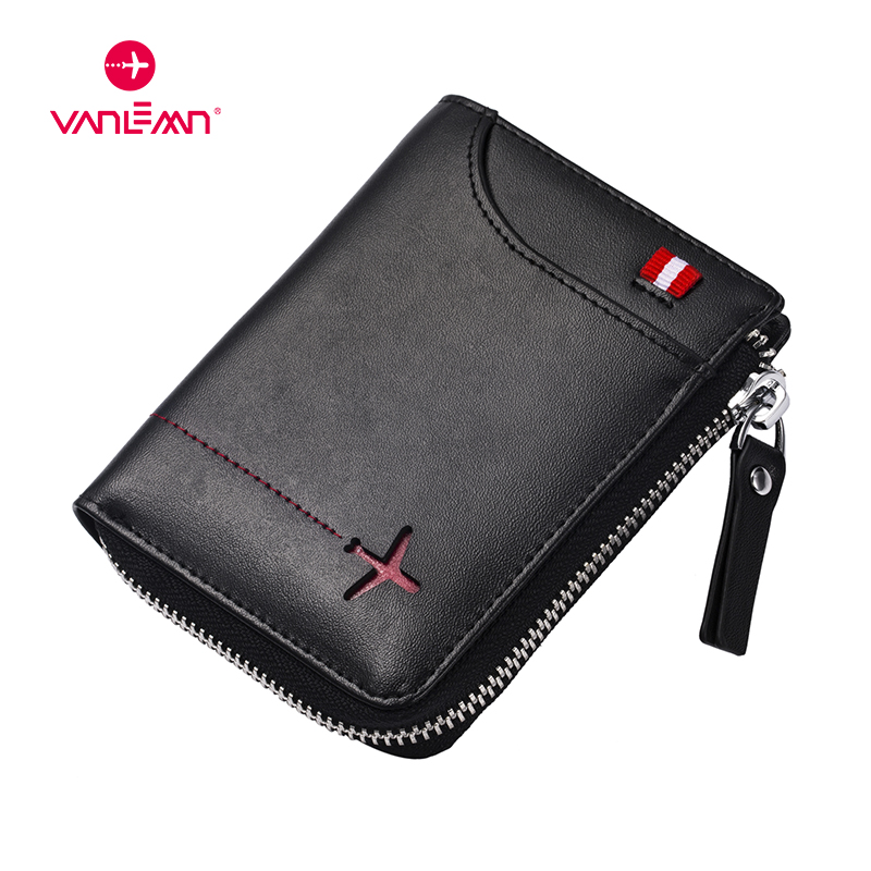Genuine Leather Men Wallets Card Holder Rfid MiniMoney Bag Luxury Boys Wallet Leather With Coin Pocket NFC ID Credit Card Wallet