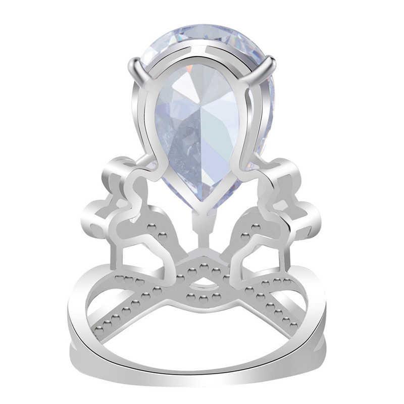 Qevila New Arrival 925 srebrny pierścień dla kobiet Retro duży cyrkon korona przesadzone królowa pierścień mężczyźni bohemia Wedding Party hurtownie