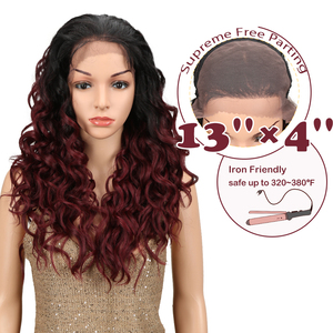 Magic Synthetic Lace Front Wig With Baby Hair Ombre 24inch Long Loose Wavy Glueless Heat Resistant Fiber Free Part Wig For Black