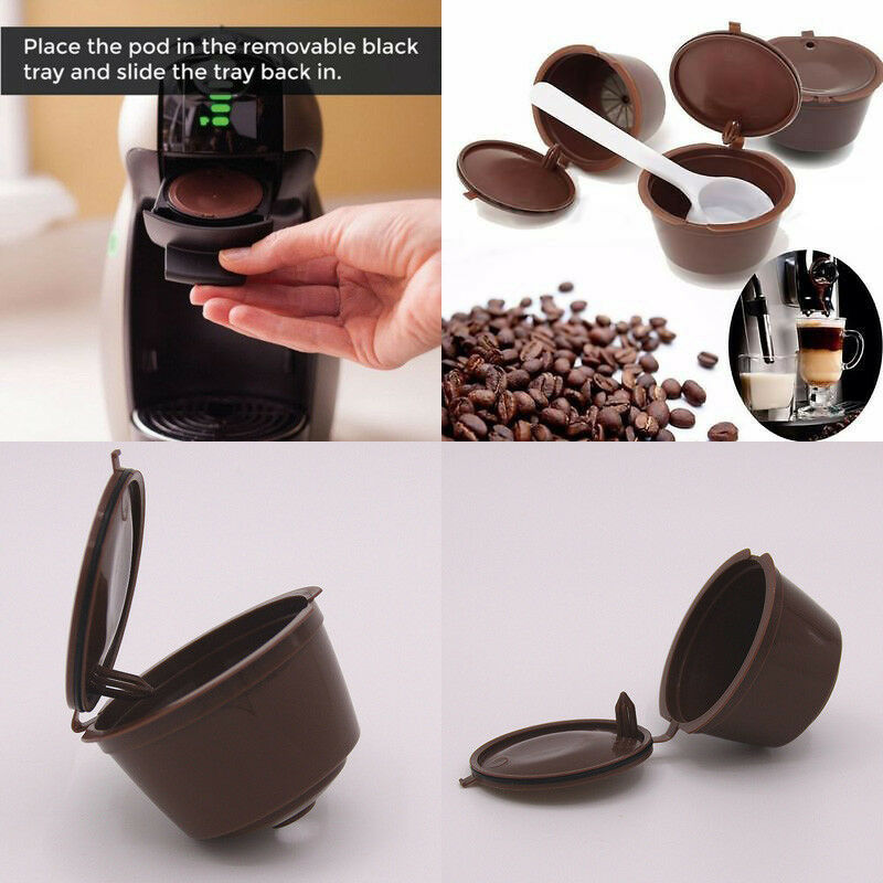4Pcs Reusable Coffee Capsule Filter Cup For Nescafe Dolce Gusto Refillable Caps Spoon Brush Filter Baskets Pod Soft Taste Sweet