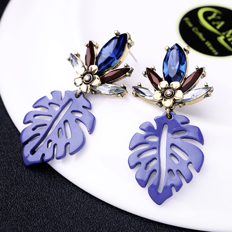 Bohemia Handmade Crystal Acrylic Leaf Drop Earring For Women Date Gift Wholesale Jewerly