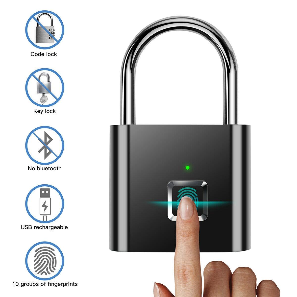 Anti-Theft Keyless USB Rechargeable Door Lock Fingerprint Smart Padlock Quick Unlock Zinc Alloy Metal Self Developing Chip