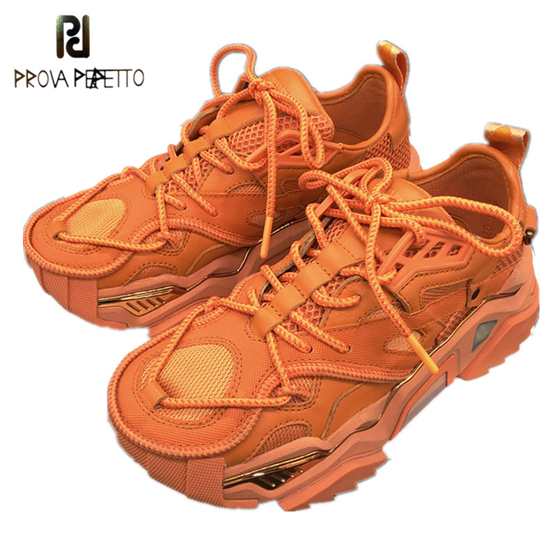 Women Sneakers Genuine Leather Mesh Breathable Platform Shoes Woman Lace-Up Dad Shoes Outdoor Comfortable Chunky Sneakers Women