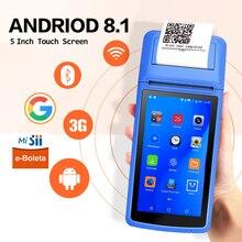 Impressora handheld 58mm pda da posição do andróide 8.1 impressora térmica móvel do recibo inteligente pos teminal para o comercial
