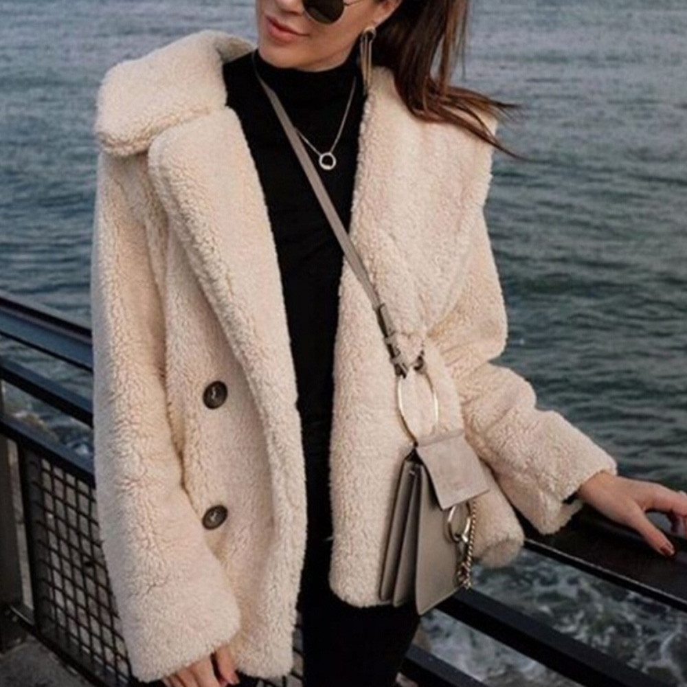 Women Long Sleeve Autumn Winter Thick Warm Jacket Coats Plus Size Loose Button Pocket Pink Lady Plush Flannel Overcoat New 2019