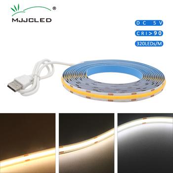 DC 5V USB pasek COB LED Light 10mm 320LEDs RA90 0 5M 1M 2M 3M wysokiej gęstości elastyczny ciepły zimny biały naturalna biel taśma LED lampa tanie i dobre opinie MJJCLED CN (pochodzenie) ROHS SALON 50000 PRZEŁĄCZNIK Taśmy 5 76 w m 7 36 w m Epistar 3000K Smd5050 cob led strip USB COB LED Strip