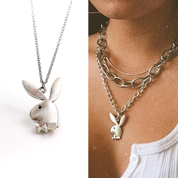 Cute play rabbit charm necklaces women jewelry funny animals Pendant necklace man Gentleman jewelry drop ship