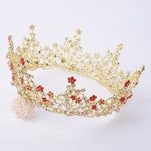 Vintage Baroque Queen Bride Crown Headdress Elegant Princess Crystal Dance Party Wedding Jewelry