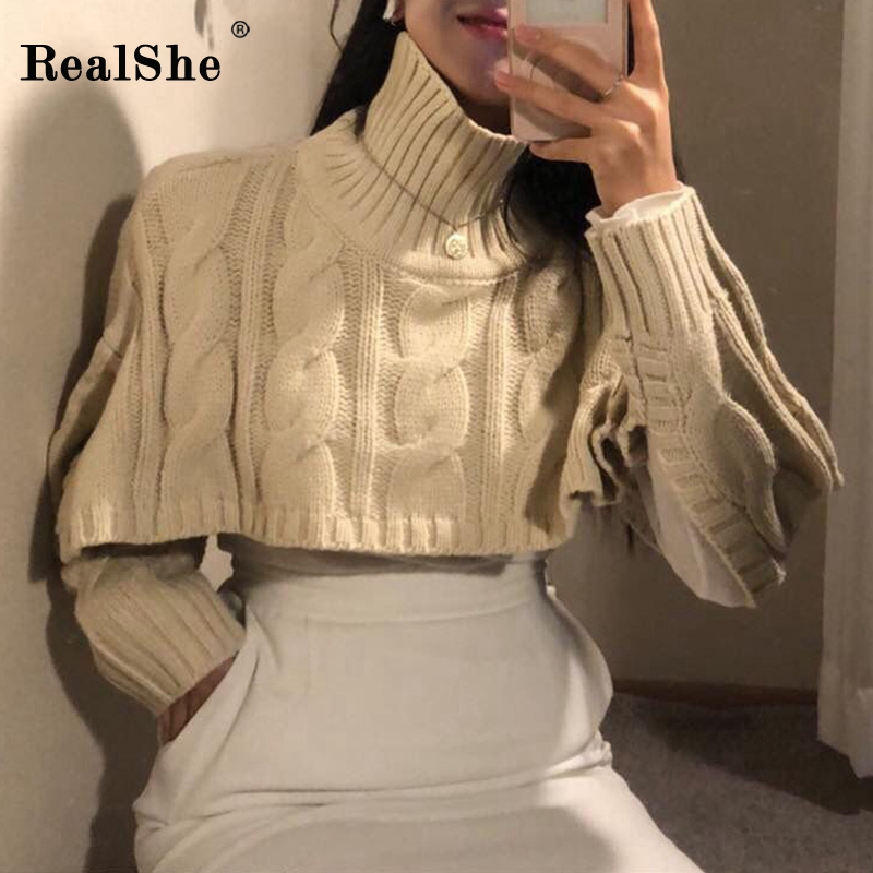 RealShe Turtleneck Sweater Women Long Seeve Solid Short Sweater Woman Pullover 2020 Spring Casual Elegant Women Knitted Sweater