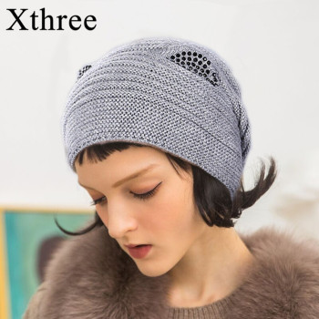 цена на Xthree Wool Knitted Hat For Women Cute Kitty Hat for girl Warm Gravity Falls Cap Fashion Thick Hats For Girls Skullies gorras